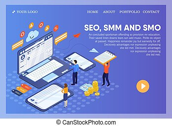 Pictographic for SEO, SMM, SMO or Search Engine Optimization, Social Media Marketing and Social Media Optimization for websites and e-business with people viewing data on a laptop, mobile and tablet
