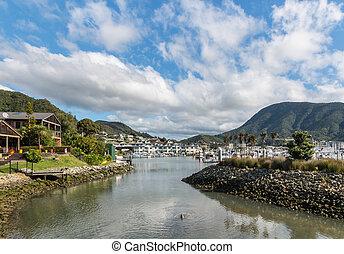 Picton marina, South Island, New Zealand - Picton marina,...