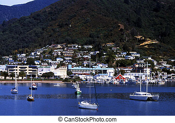 Picton at head of sound, New Zealand scenics.