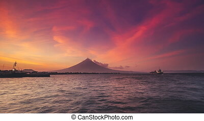 pictorial Magayon Volcano of perfect symmetric conical shape...