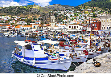 pictorial port of Hydra island, Greece