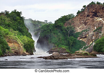 pictorial view of the Murchison Falls - idyllic River Nile...
