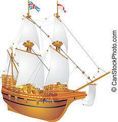 galleon Mayflower - Picture an old sailing ship, galleon...