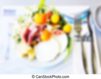 Picture blurred for background abstract. Blur food in restaurant.