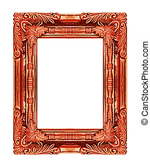 Picture brown frame isolated on white background, clipping path