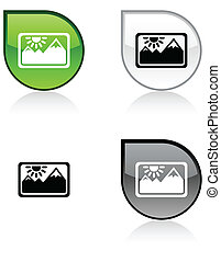 Picture button. - Picture glossy drop vibrant buttons.