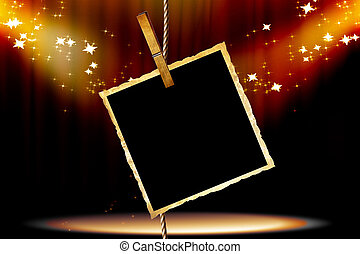 picture - single old picture attached to a string