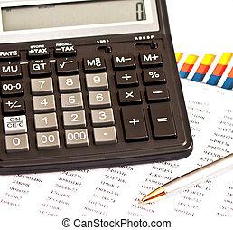 picture:, finansiell, affär, räknemaskin, grafer, penna
