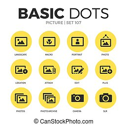 Picture flat icons vector set