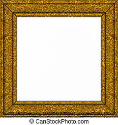 picture frame - an old golden picture or certifcate frame ...