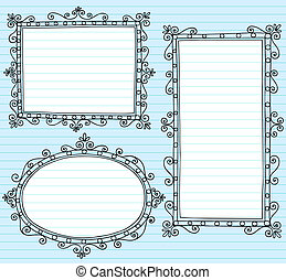 Picture Frame Borders Vecto Doodles - Inky Notebook Doodle...