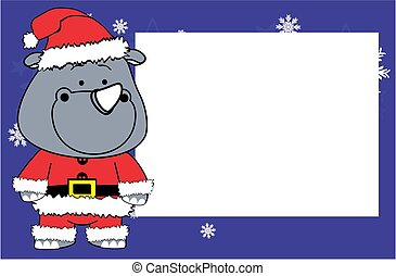 picture frame cute rhino cartoon xmas background