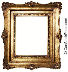 Picture Frame Gold - Aged, gold plated empty picture frame...