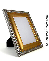 picture frame - gold and silver 01 - a gold and silver...