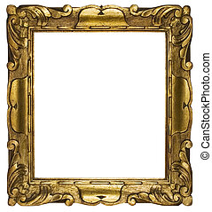 Cubic, gold plated empty picture frame for putting your pictures in. Clipping path included.