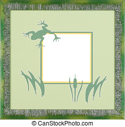 Picture frame green frog  mat