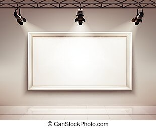 Picture Frame Illuminated - Gallery room interior with blank...