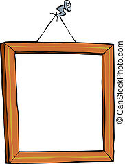 Picture frame on a nail vector illustration
