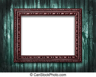 Picture frame on a wooden grunge background