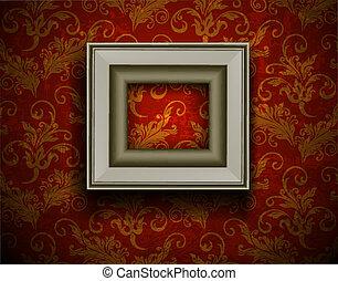 Picture frame on grunge wall vector vintage design