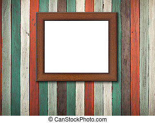 Picture frame on Old wood wall and floor