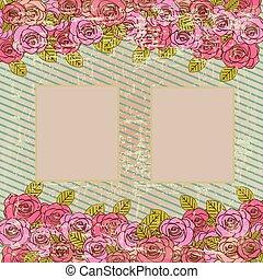 picture frame over floral background vector illustration