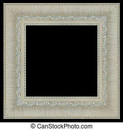 Picture frame silver wood frame on black background.
