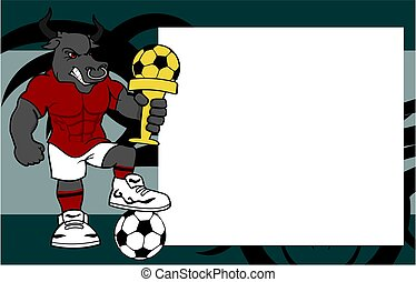 picture frame strong sporty bull futbol soccer player cartoon background
