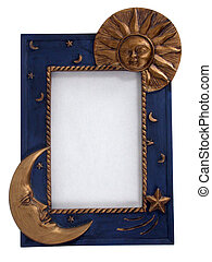 picture frame - sun and moon - a straight on view of a sun...