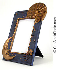 picture frame - sun and moon - a 3/4 view of a sun and moon...