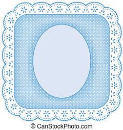 Picture Frame, White Eyelet Lace - White eyelet lace doily...