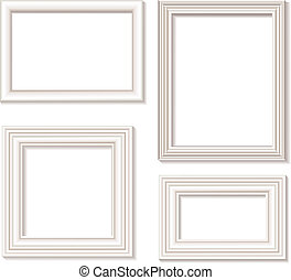 picture frame white - The four white isolated picture frames...
