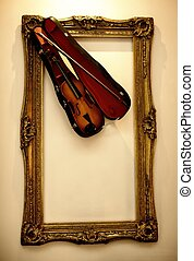 Picture frame with a violin