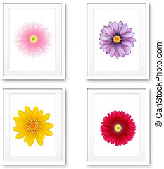 Picture Frame With Flowers Isolated
