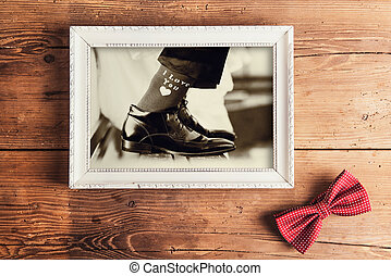 Picture frame with wedding photo