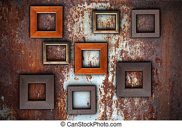 picture frames on abstract surface ready for your design