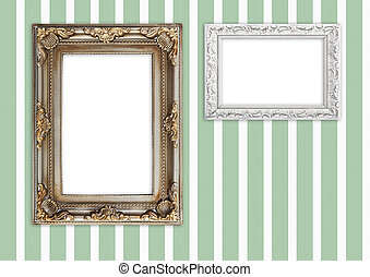 Picture frames on striped wall