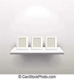 picture frames on white realistic shelf