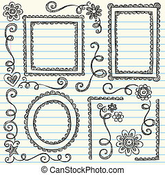 Stock Vector Illustration: Frames and Borders Hand-Drawn Sketchy Scalloped Notebook Doodles Ornamental Set- Vector Illustration Design Elements on Lined Sketchbook Paper Background