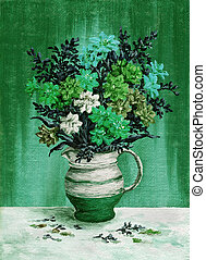 Picture, freesia flowers in a jug
