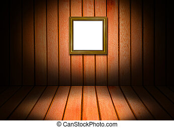 Picture gold frame and wooden interior room corner for background.