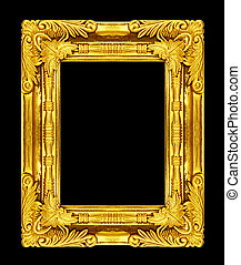 Picture gold frame isolated on black background, clipping path