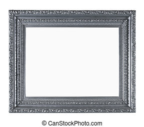 Picture gold frame with a decorative pattern on the wall