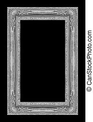 Picture golden frame isolated on black background, clipping path