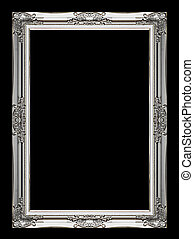 Picture gray frame isolated on black background