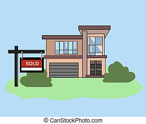 Picture. House Sold. Real Estate Sign to advertise a house listing. Basic Sign Sold in front of a modern House. Vector Illustration