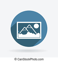 picture, image. Circle blue icon