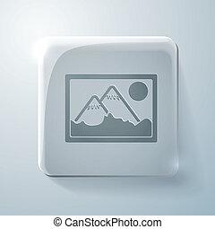 picture, image. Glass square icon
