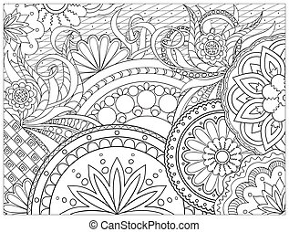 picture in zentangle style - Hand drawn decorated image with...