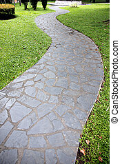 Stone of walkway in the garden.